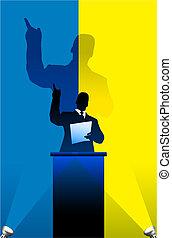 Ukraine flag with political speaker behind a podium