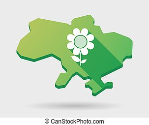 Ukraine green map icon with a flower