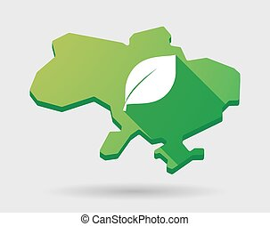 Ukraine green map icon with a leaf