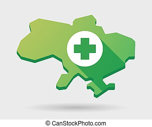 Ukraine green map icon with a pharmacy sign