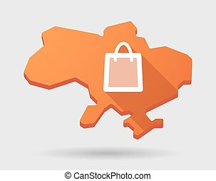 Ukraine green map icon with a shopping bag