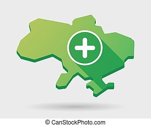 Ukraine green map icon with a sum sign