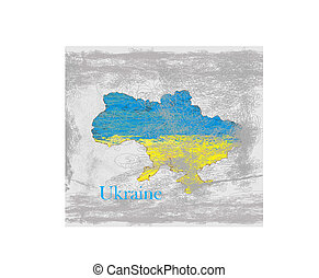 Ukraine Grunge map with the flag inside.