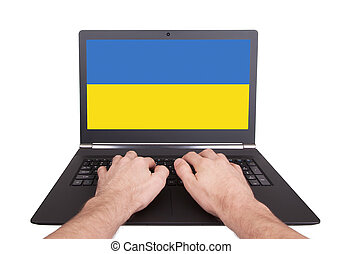 ukraine, hænder, arbejder, laptop