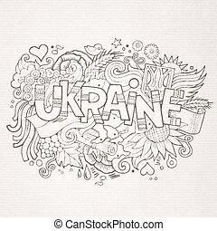 Ukraine hand lettering and doodles elements