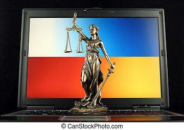 ukraine, justice, symbole, prise vue., laptop., drapeau, studio, droit & loi, pologne