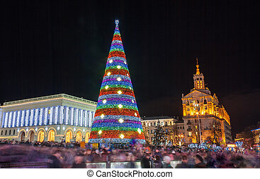 ukraine, kiev, arbre, maidan, nezalezhnosti, noël