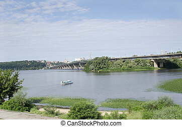 Ukraine, Kiev, Paton bridge over Dnipro river and hystoric central city part