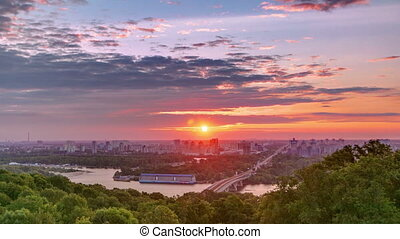 Ukraine. Kiev. Sunrise on the left bank of the Dnieper River timelapse