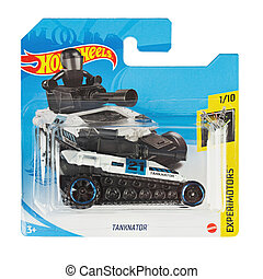 Hot wheels toy car  Tanknator close up picture. Wheels is a scale die-cast toy cars by American toy maker Mattel in 1968.