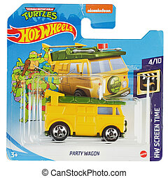 Hot wheels toy car  Turtles party wagon close up picture. Wheels is a scale die-cast toy cars by American toy maker Mattel in 1968.