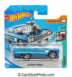 Toy car model 64 Chevy Impala. Hot Wheels is a scale die-cast toy cars by American toy maker Mattel in 1968. File contains clipping path.