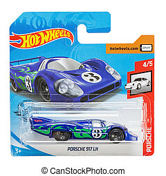 Toy car model Porsche 917 lh. Hot Wheels is a scale die-cast toy cars by American toy maker Mattel in 1968. File contains clipping path.