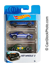 Set of toy cars. Hot Wheels is a scale die-cast toy cars by American toy maker Mattel in 1968. File contains clipping path.