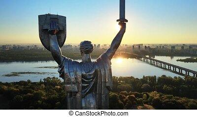 ukraine., kyiv, morning., motherland, aérien, monument, vue