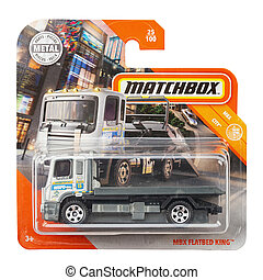 Toy car model mbx flatbed king. Matchbox is a popular British toy brand that was introduced by Lesney Products in 1953. File contains clipping path.