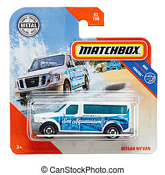 Toy car Nissan nv van. Matchbox is a popular British toy brand that was introduced by Lesney Products in 1953. File contains clipping path.