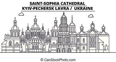 Ukraine - Kyiv-Pechersk Lavra travel famous landmark skyline, panorama, vector. Ukraine - Kyiv-Pechersk Lavra linear illustration