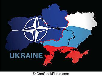 ukraine, landkarte, nato, russland, v