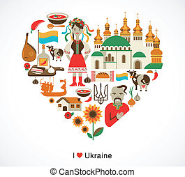 Ukraine love - heart with icons, graphic elements and symbols
