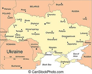 Ukraine, editable vector map includes surrounding countries, in color with cities, capitals, all objects editable. Great for illustrations, web graphics and graphic design. Includes sections of surrounding countries, Russia, Belarus, Poland, Romania, and Moldova.