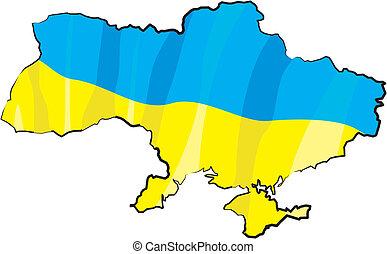 ukrainian borderline with national colors