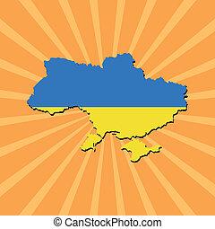 Ukraine map flag on sunburst