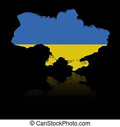 Ukraine map flag with reflection illustration