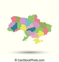 Ukraine map icon. Flat vector illustration. Ukraine sign symbol with shadow on white background.