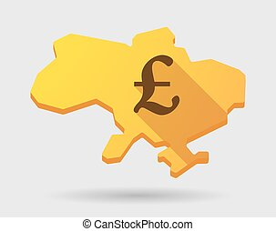 Ukraine map icon with a currency sign