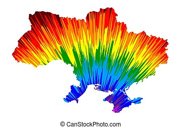 Ukraine - map is designed rainbow abstract colorful pattern