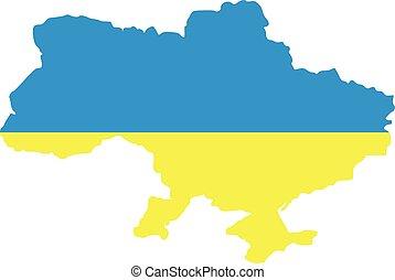 Ukraine map with flag