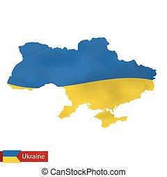 Ukraine map with waving flag of Ukraine.