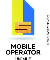 Ukraine mobile operator. SIM card with flag. Vector illustration.