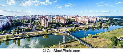 ukraine, oeil, district, kiev, troieshchyna, oiseaux, vue