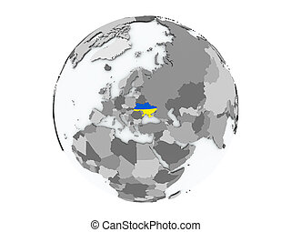 Ukraine on globe isolated