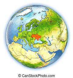 Ukraine on isolated globe