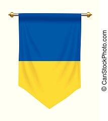 Ukraine Pennant - Ukraine flag or pennant isolated on white