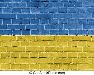 Ukraine Politics Concept: Ukrainian Flag Wall