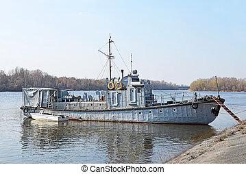 ukraine, port, kiev, moteur, petit, bateau, rivière