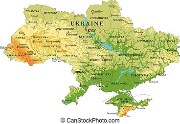 Highly detailed physical map of Ukraine, in vector format, with all the relief forms, regions and big cities.