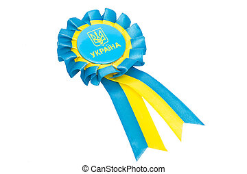 ukraine seal with blue and yellow ribbons isolated on white background