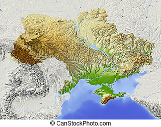 Ukraine, shaded relief map - Ukraine. Shaded relief map with...