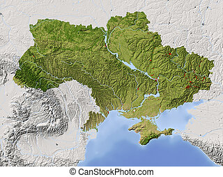 Ukraine, shaded relief map - Ukraine. Shaded relief map....