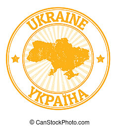 Ukraine stamp - Grunge rubber stamp with the name and map of...