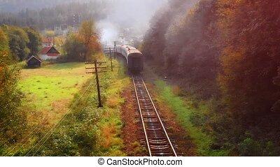ukraine, train, passager, yaremche, vue, par, dépassement, aérien