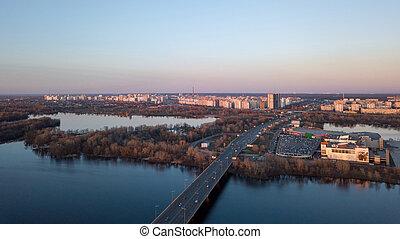ukraine, truhaniv, dnieper, einkaufszentrum, skymol, insel, kyiv, parken, fluß, brücke, oben