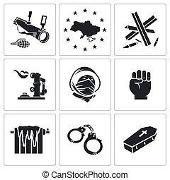 ukraine, vecteur, ensemble, icônes