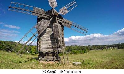 ukraine., vieux, bois, windmill.