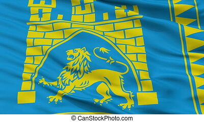 ukraine, ville, drapeau, closeup, lviv